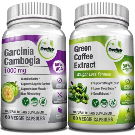 Pure Green Coffee Bean Extract + Pure Garcinia Cambogia Extract - Weight Loss Bundle - 120 Veggie Capsules - Gluten Free - Non