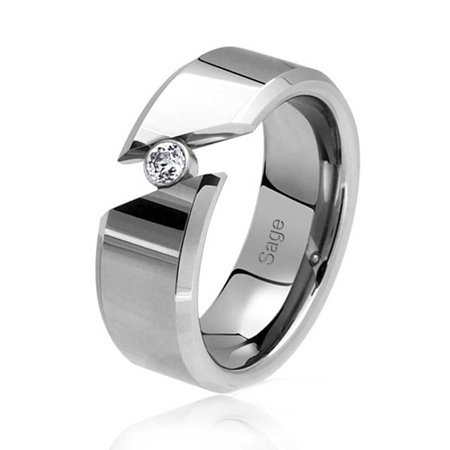 c69d74e0944ee .25CT Simple Tension Bypass Bezel CZ Accent Cubic Zirconia Couples  Engagement Ring Tungsten Ring For Men For Women 8MM