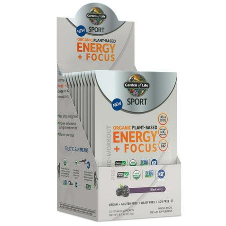 Garden Of Life Sport Organic Pre Workout Energy Plus Focus Blackberry  12 Ct
