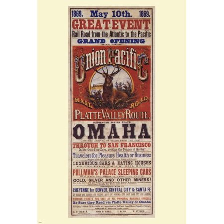 Union Pacific Vintage Train Poster Us 1869 24X36 Travel Old Fashioned