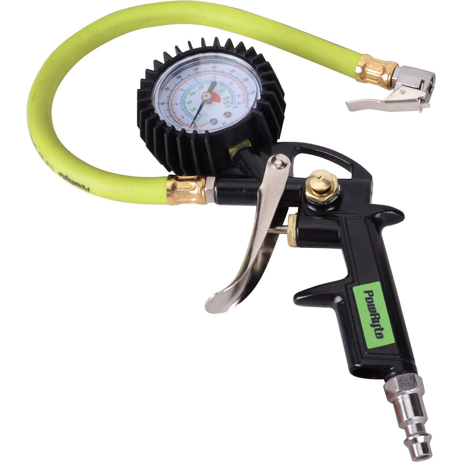 PowRyte Pistol Grip Air Tire Inflator with Gauge 10-220 PSI 5000790