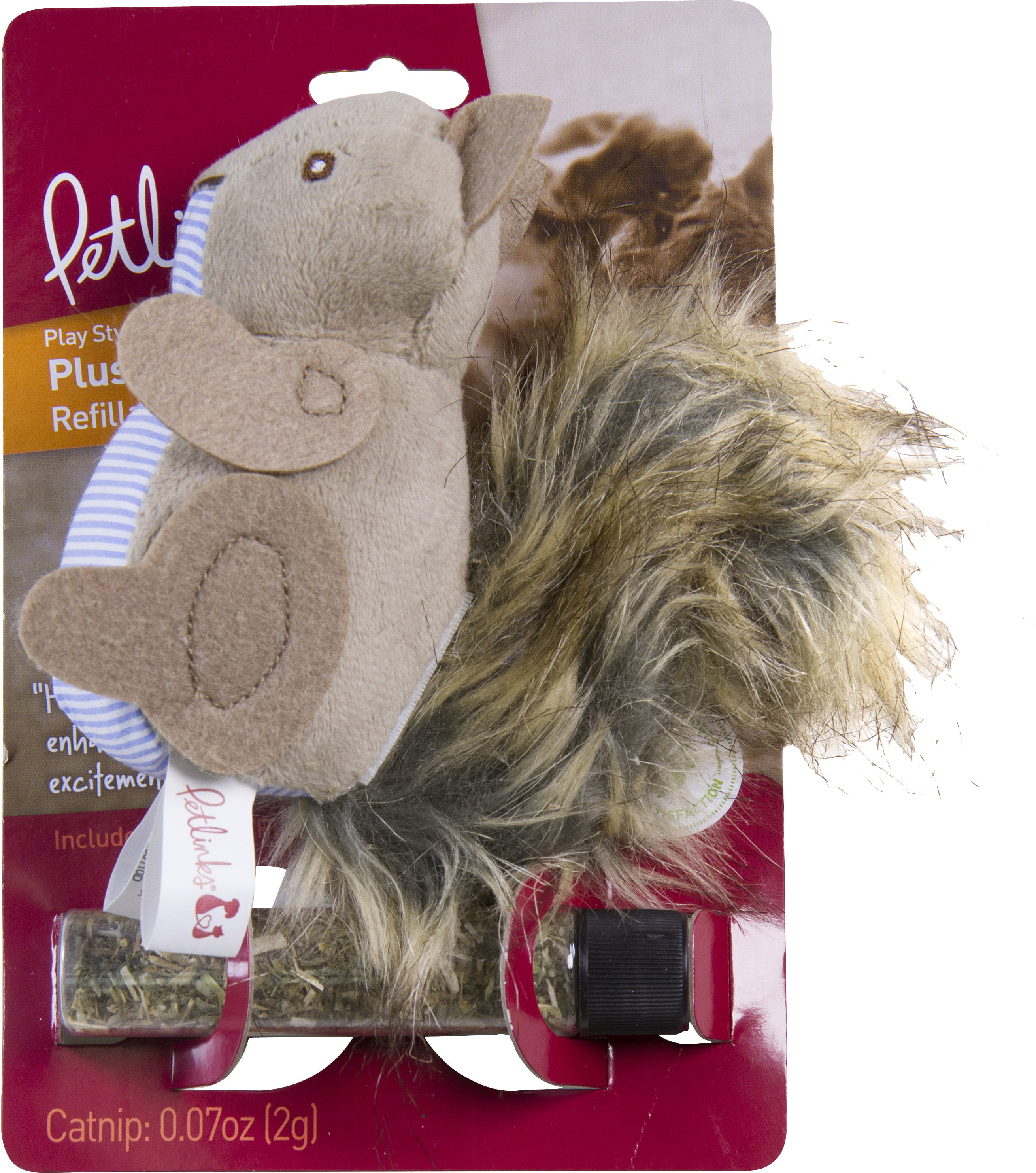 Petlinks Plush Player Squirrel Refillable Catnip Cat Toy by Worldwise, Inc