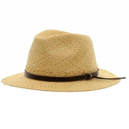 Scala Men's Natural Raffia With Trim Safari Straw Hat Sz: L/XL (Natural Raffia Straw Hat)