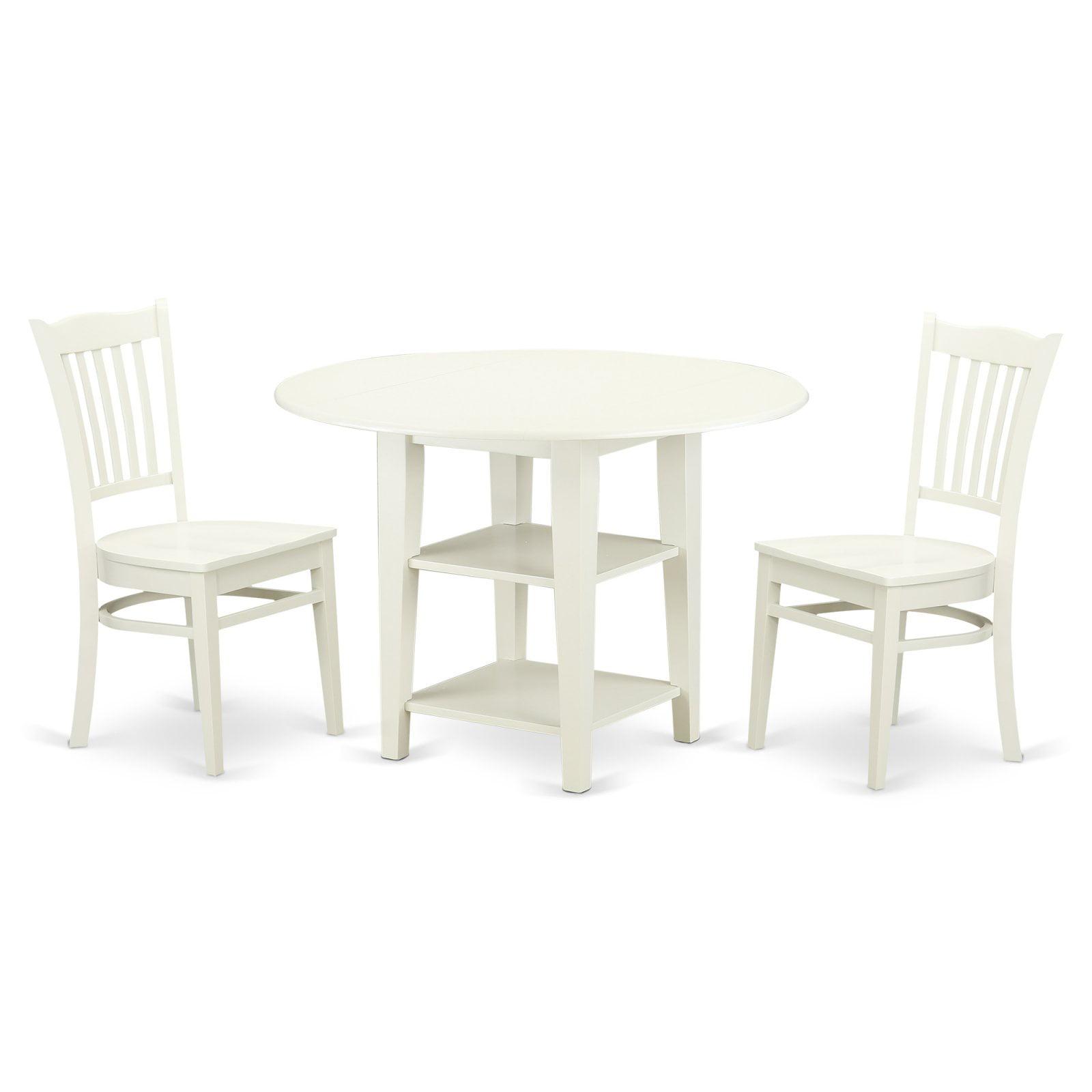 East West Furniture Sudbury 3 Piece Dual Drop Leaf Dining Table Set