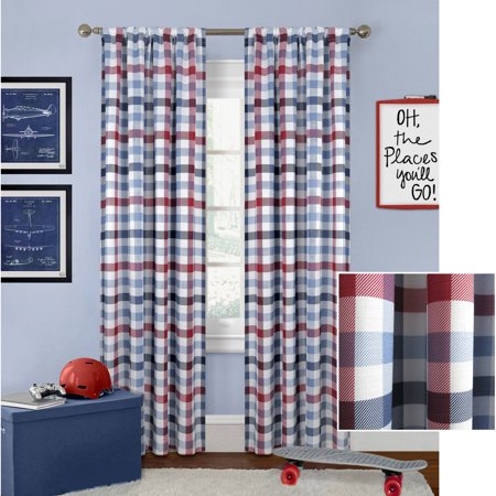 (Better Homes and Gardens Checked Plaid Curtain Panel)