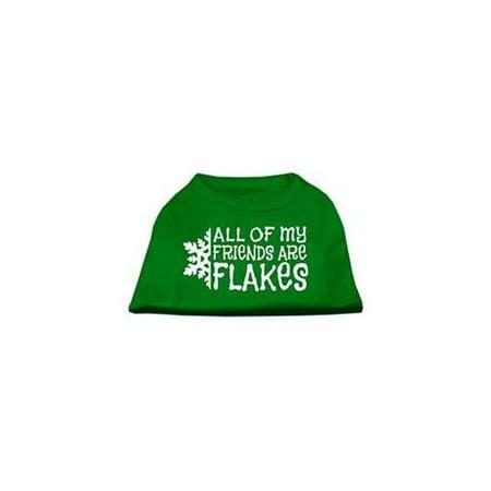 All my Friends are Flakes Screen Print Shirt Emerald Green XXXL 20