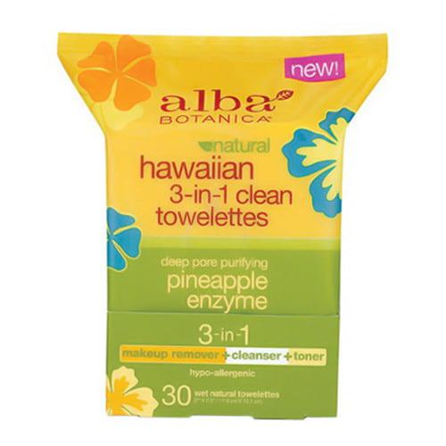Alba Botanica Hawaiian Natural 3 In 1 Clean Towelettes - 30 Ea, 3 Pack