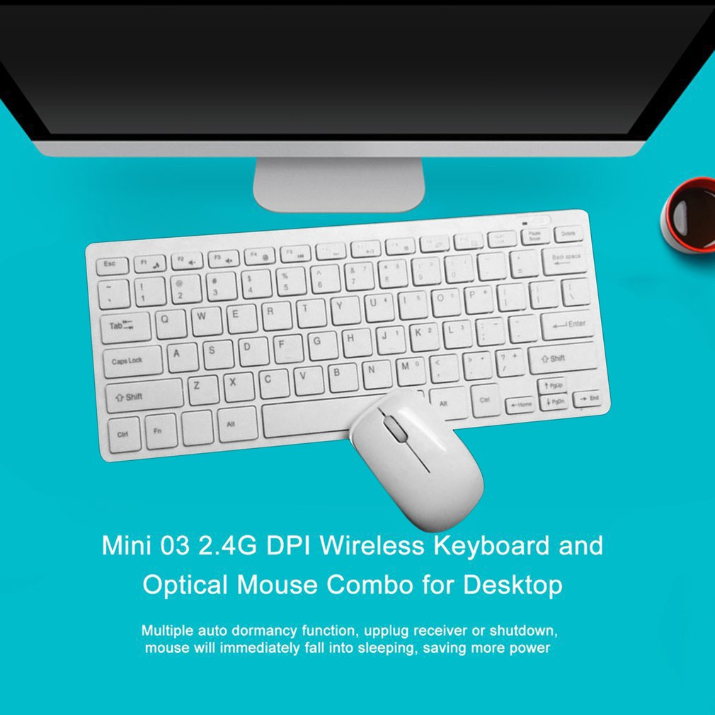 Mini Ultra-thin 03 2.4G 1600DPI 3 Keys ABS Plastic Wireless Keyboard and Optical Mouse Combo for Desktop,white