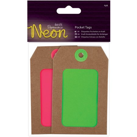 Papermania Neon Pocket Tags 4/Pkg-4