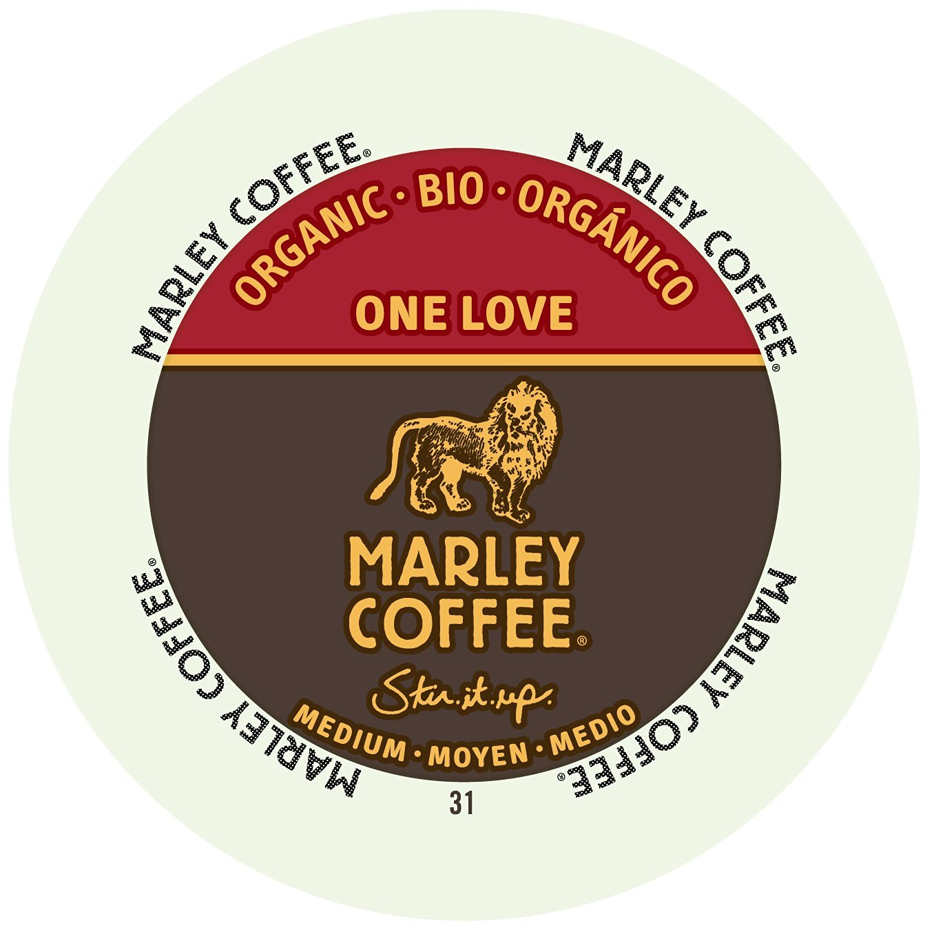 Marley Coffee One Love Medium Organic, RealCup portion pack for Keurig K-Cup Brewers, 96 Count