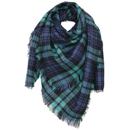 Womens Ultra Soft Plaid Blanket Wrap Scarf Shawl  Green