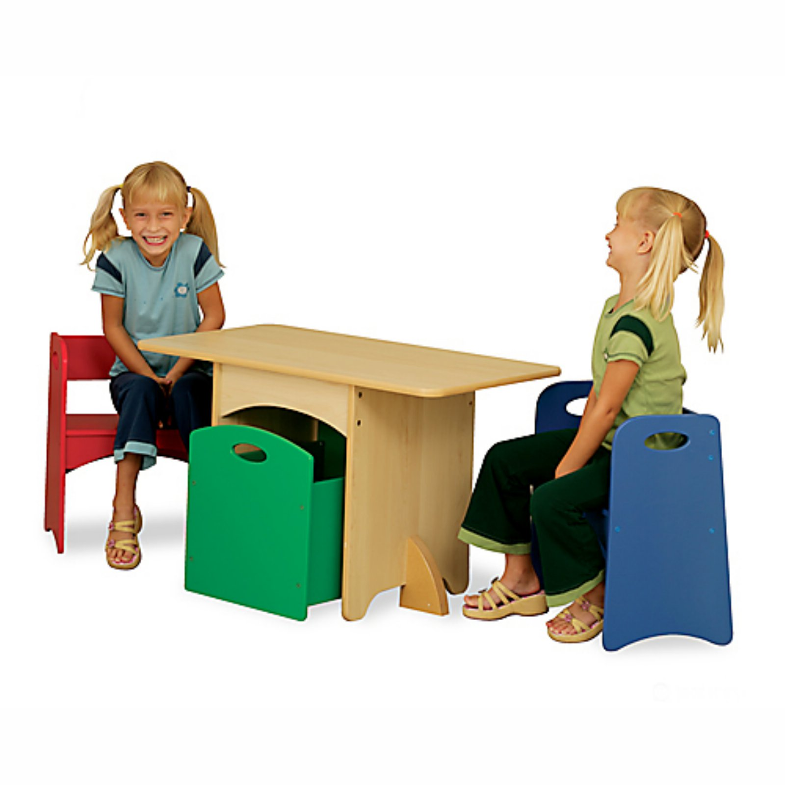 KidKraft   Table With Red And Blue Benches