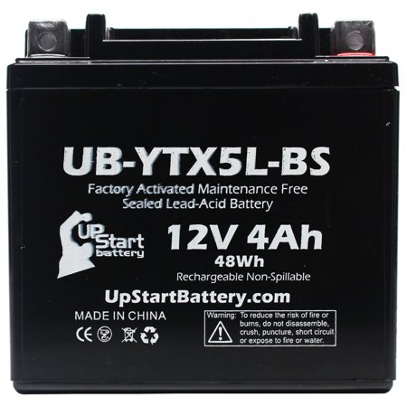 2-Pack Replacement 2012 Polaris Predator, Outlaw 50CC Factory Activated, Maintenance Free, ATV Battery - 12V, 4Ah, UB-YTX5L-BS - image 2 de 4