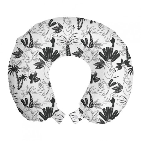 Forest Travel Pillow Neck Rest, Tropical Rainforest Doodle of Monkeys and Toucan Birds on Tree Branches, Memory Foam Traveling Accessory Airplane and Car, 12 , Charcoal Grey and White, by Ambesonne Ambesonne Travel Pillow Neck Rest STANDARD SIZE - 12  Wide x 12  Long. U shape head support. Rest pillow with durable printed cover. MADE FROM - Soft & moldable viscoelastic memory foam. Sturdy and soft 100% polyester fabric cover. FEATURES - Breathable. Removable cover has a zipper closure. Easy to attach with snap fasteners. PORTABLE - Comfortable on a plane, bus, car, train or at home while watching TV, reading a book, napping. PRINTED - With state of the art digital printing technology. Long-lasting bold colors & clear image. Feel like at home even on the go! Feel the comfort and softness with this smart design memory foam travel pillow. Choose between thousands of different patterns for a more personalized look. This printed cover is machine washable so; you can have a fresh and clean pillow every journey. It can be quickly taken off and put on with zipper closure. Its comfortable and breathable. Use it in the car, plane, train or bus. Itll be your best traveling partner. With its snap fasteners, you can easily attach it to your luggage or backpack without taking much space. Besides traveling you can use it at home or office. Even a simple nap will be better with this relaxing head support. Dont miss the style while seeking for comfort. This pillow will give you both, surely. Catch the comfortable travel and lounging experiences with this versatile travel gear. The digital images we display have the most accurate color possible but due to differences in pc monitors, we cant be responsible for variations in color between the actual product and your screen.