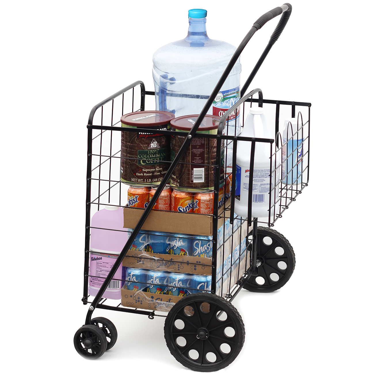 OxGord Folding Shopping Cart with Double Basket- Jumbo Size 150 lb Capacity for Laundry, Grocery, Travel