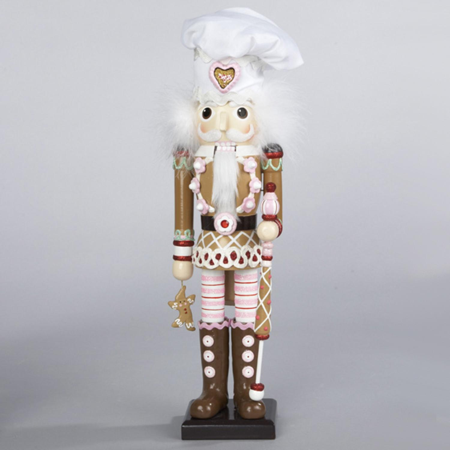 "17"" Gingerbread Kisses Decorative Wooden Chef Christmas Nutcracker"