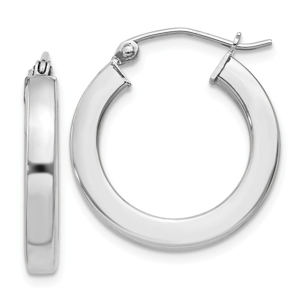 Sterling Silver 3.00mm Rhodium-Plated Square 0.7IN Hoop Earrings (0.8IN x 0.7IN )