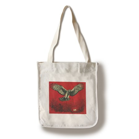Nature Magazine - View of an Owl Landing in its Nest with Eggs (100% Cotton Tote Bag - Reusable) - Owl Tote