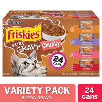 Friskies Gravy Wet Cat Food Variety Pack, Extra Gravy Chunky - (24) 5.5 oz. Cans