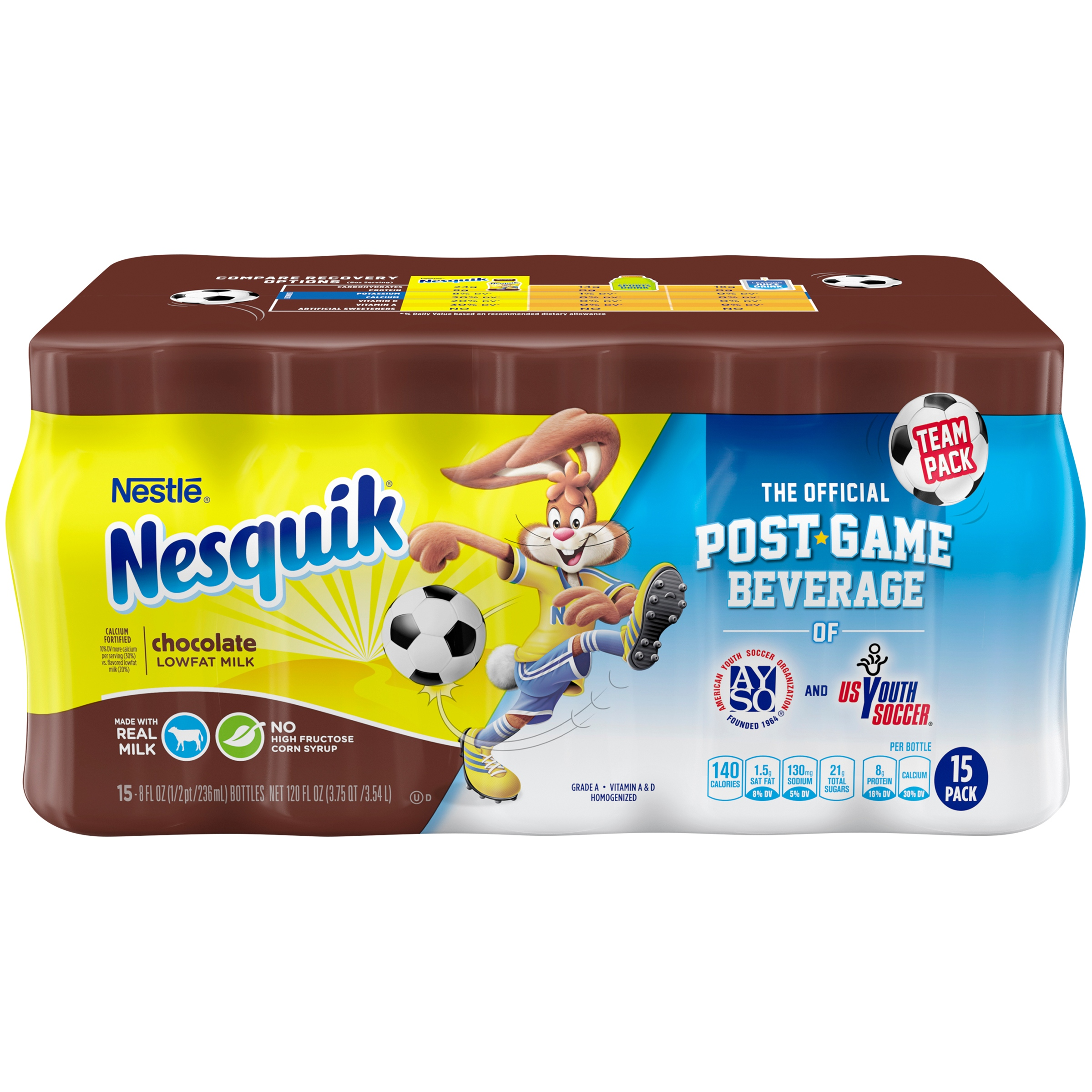 NESTLE NESQUIK Chocolate Low Fat Milk 15-8 fl. oz. Plastic Bottles