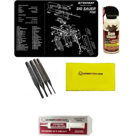 Extreme Pc - Gunsmith Cleaning Tool Gun Mat For SIG Sauer SIG P220 Pistol + Pro Gun Cleaner Lubricant Spray Field Can + Gun Care Cloth + 4 pc Steel Punch Tool Takedown Disassembly Set Kit + Extreme Gun Grease