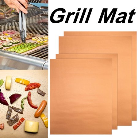 4Pcs Copper Chef Grill and Bake Mats BBQ Reusable Pad Tool For Gas Easy Bake Cook Grate Cover Camping Hiking Home Outdoor(34 x 23.5CM)