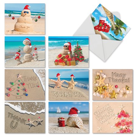 M6651XTB SEASON'S BEACHIN'' 10 Assorted Christmas Thank You Greeting Cards Featuring Various Holdiday Greetings from  Sunny Beaches Around the World, with Envelopes by The Best Card (Best Headphones Company In World)