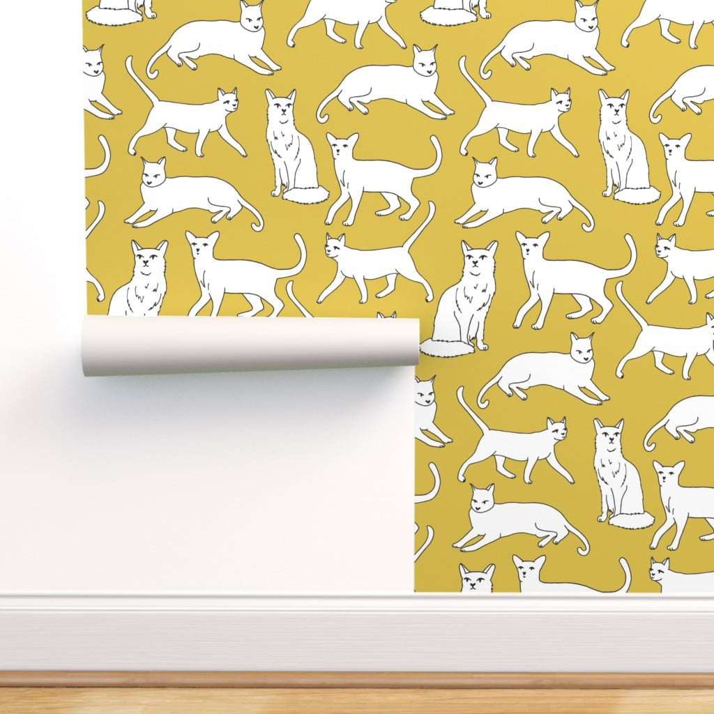 Removable Water Activated Wallpaper Cat Mustard White Black Kitten Cats Yellow Walmart Com Walmart Com