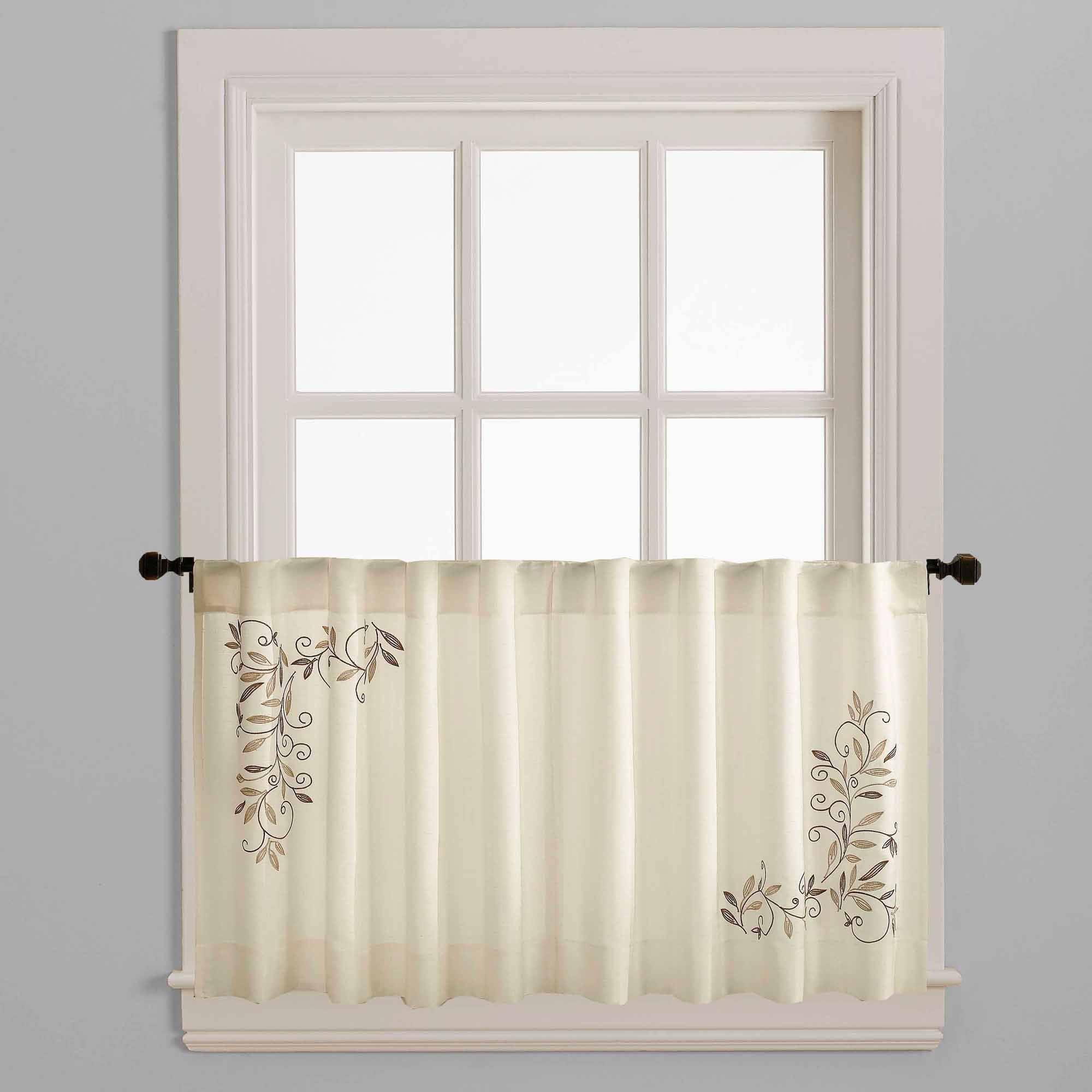 CHF & You Scroll Leaf Kitchen Curtains Set of 2 Walmart