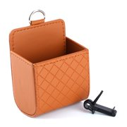 Car Auto Seat Back Interior Air Vent Tidy Storage Coin Bag Case Organizer Cellphone Holder Pounch Box with Hook (Brown)