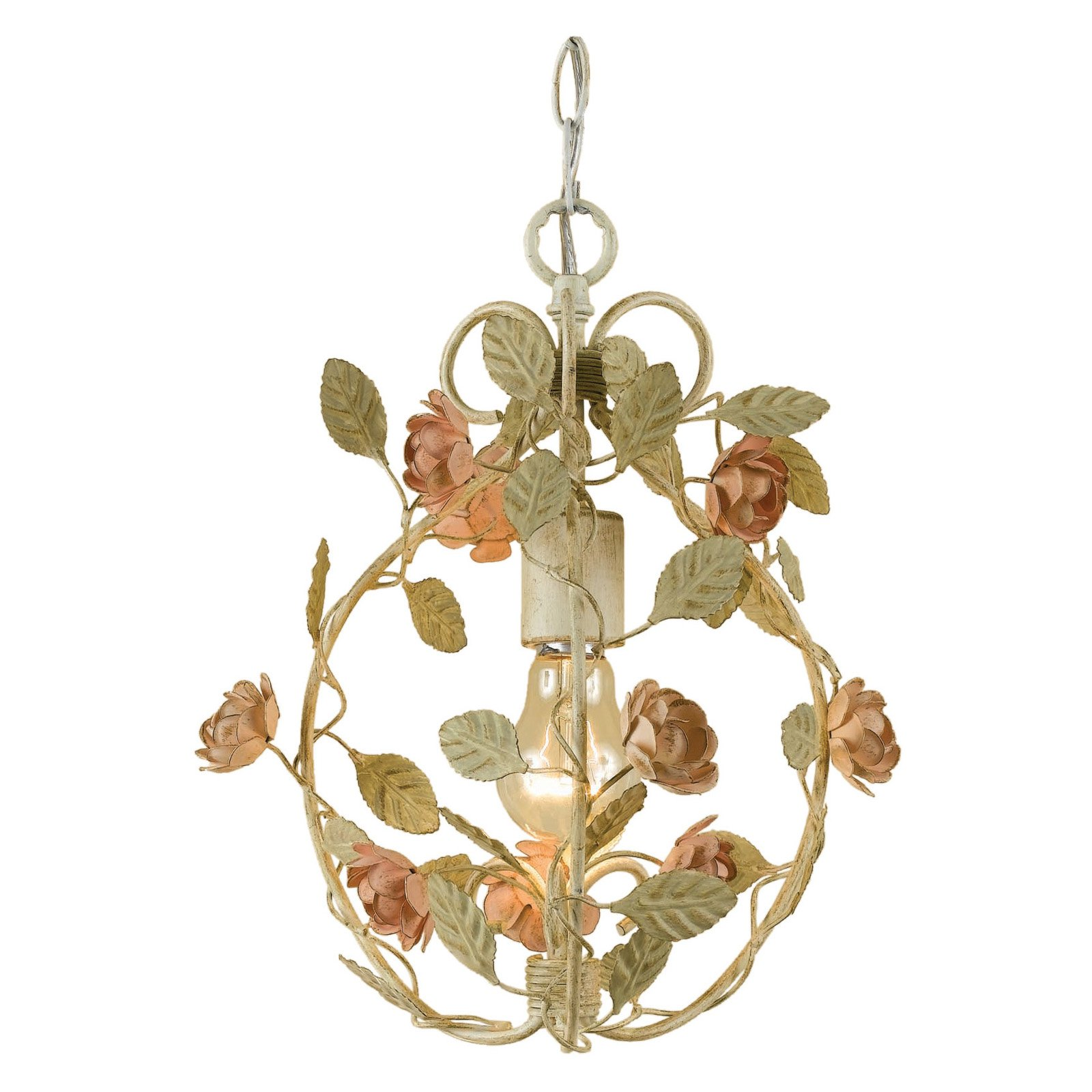 AF Lighting Ramblin Rose 1-Light Mini Chandelier, Antique Cream
