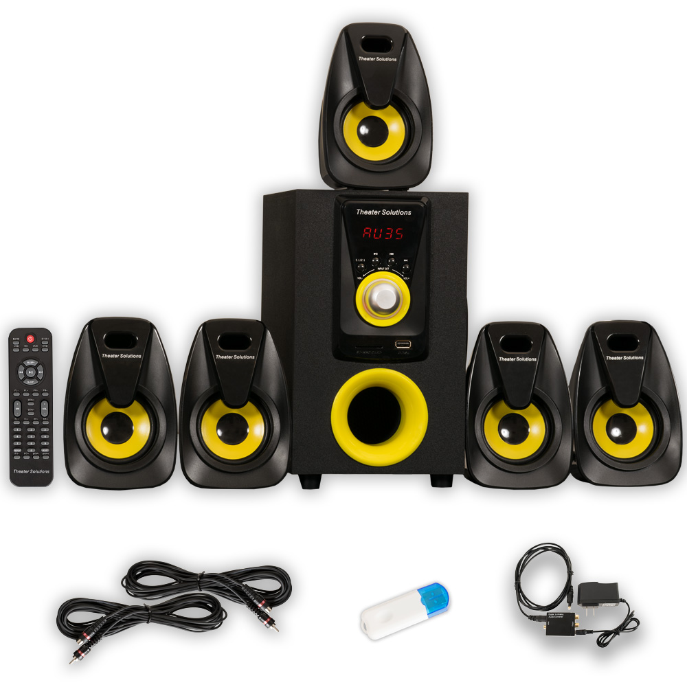 Theater Solutions TS522 Home 5.1 Speaker System with USB Bluetooth Optical Input and 2 Ext. Cables