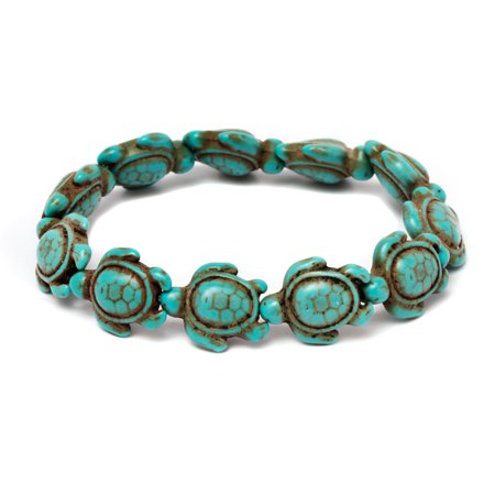Handmade Genuine Turquoise Hawaiian Sea turtle (Turquoise Link Bracelet Set)