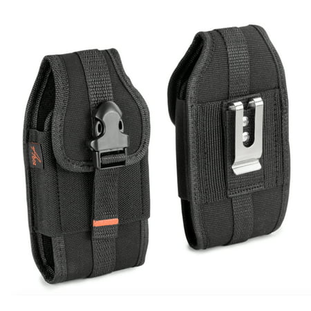 For Huawei Ascend XT H1611, HEAVY DUTY RUGGED Canvas Vertical AGOZ Case Holster w/ Metal Clip, Belt Loops, Velcro Closure, Card Slot,Front Buckle