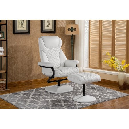 Office Swivel Chair with Footstool, Faux Leather Reclining Executive and Gaming Chairs (White) Brown Bomber Leather Executive Chair