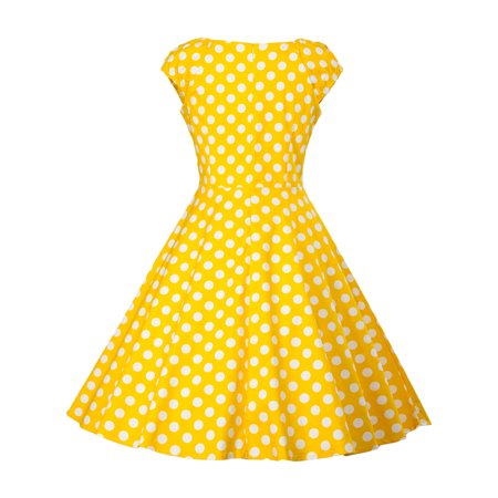 Casual Gold Dress (Women Vintage Dress 50S 60S Sleeveless Polka Dots Swing Pinup Retro Summer Casual Evening Cocktail Party Ball)
