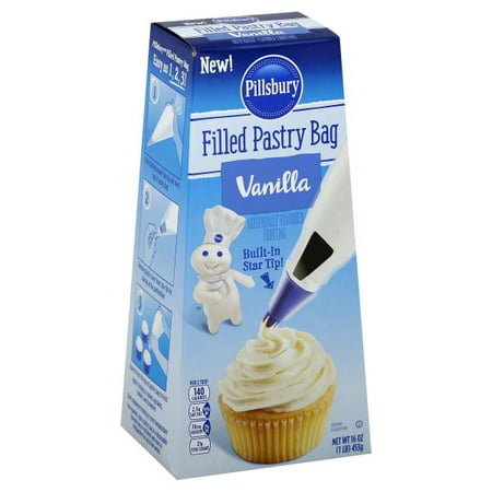 (2 Pack) Pillsbury Filled Pastry Bag Vanilla Flavored Frosting, 16oz - Frosting Bags
