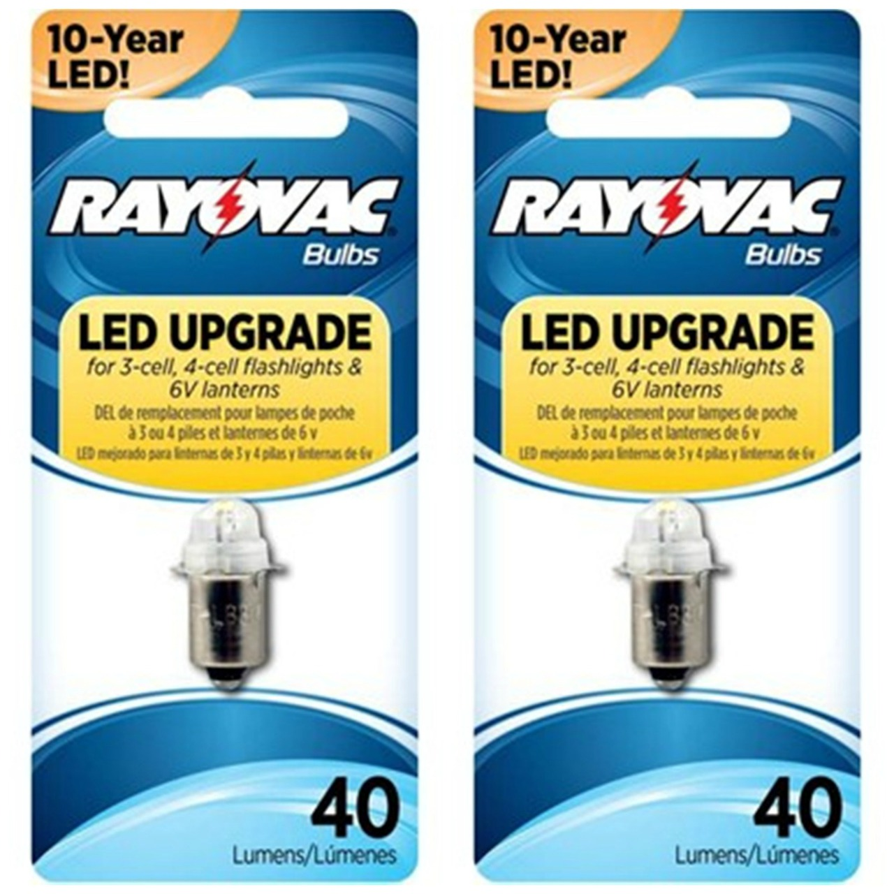 Rayovac LED Upgrade Bulb for 3-Cell, 4-Cell Flashlights and Lanterns 4V6VLED -2 Pack + FREE SHIPPING!