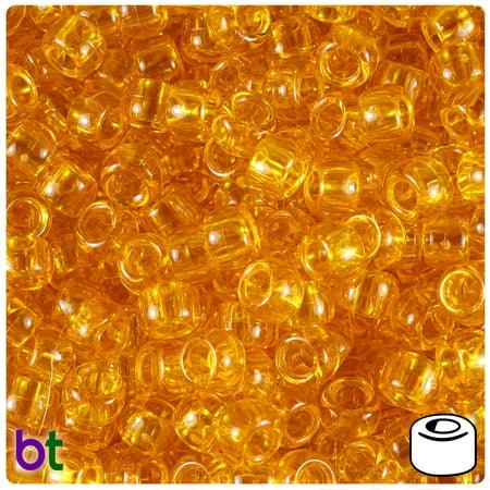 BeadTin Sun Gold Transparent 9mm Barrel Pony Beads (500pcs)