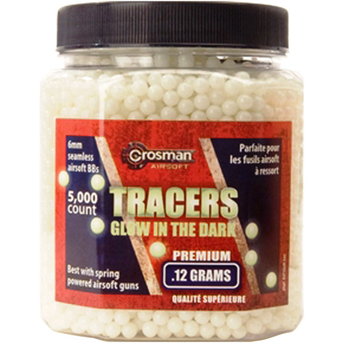 CROSMAN TRACERS GLOW-IN-THE-DARK AIRSOFT AMMO BB (.12G 6MM BBS), 5000 CT