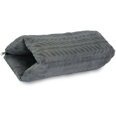Napa 4 in 1 Fleece Super Soft Travel Pillow Neck Support, Hand Muff Warmer, Lumbar Support Seat Cushion With Bag Zipper Cozy Reversible Grey