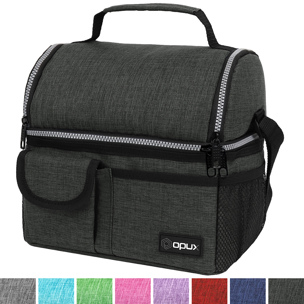 OPUX Deluxe Thermal Insulated Dual Compartment Lunch Bag for Men, Women | Double Deck Reusable Lunch Pail with Shoulder Strap, Soft Leakproof Liner | Large Lunch Box Tote for Work, School