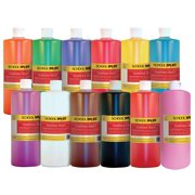 School Smart Liquid Tempera Paint Set, 1 Quart, Assorted Colors, Set of 12
