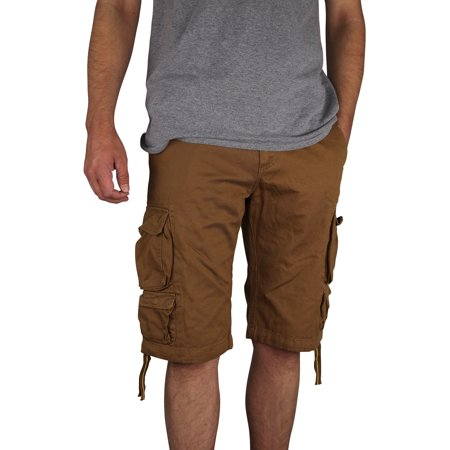Men's Gray Earth Long Lightweight Cargo Shorts (Khaki, 30) ()