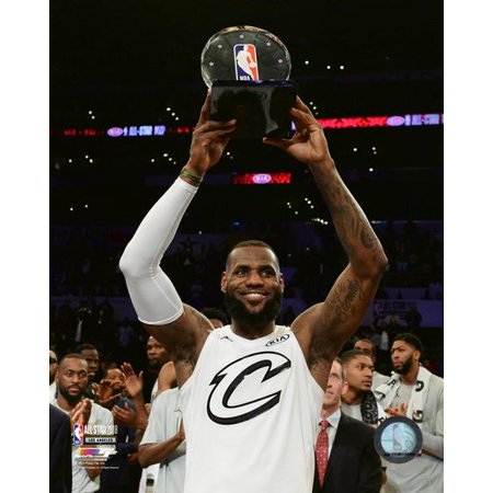 LeBron James with the MVP Trophy 2018 NBA All-Star Game Photo - All Star Trophy