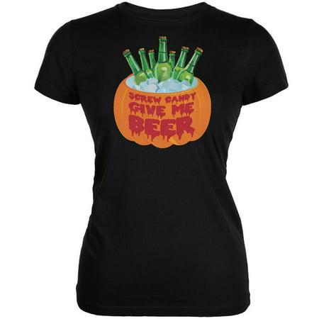 Halloween Screw Candy Give Me Beer Black Juniors Soft T-Shirt](Halloween Beer Pong Ideas)