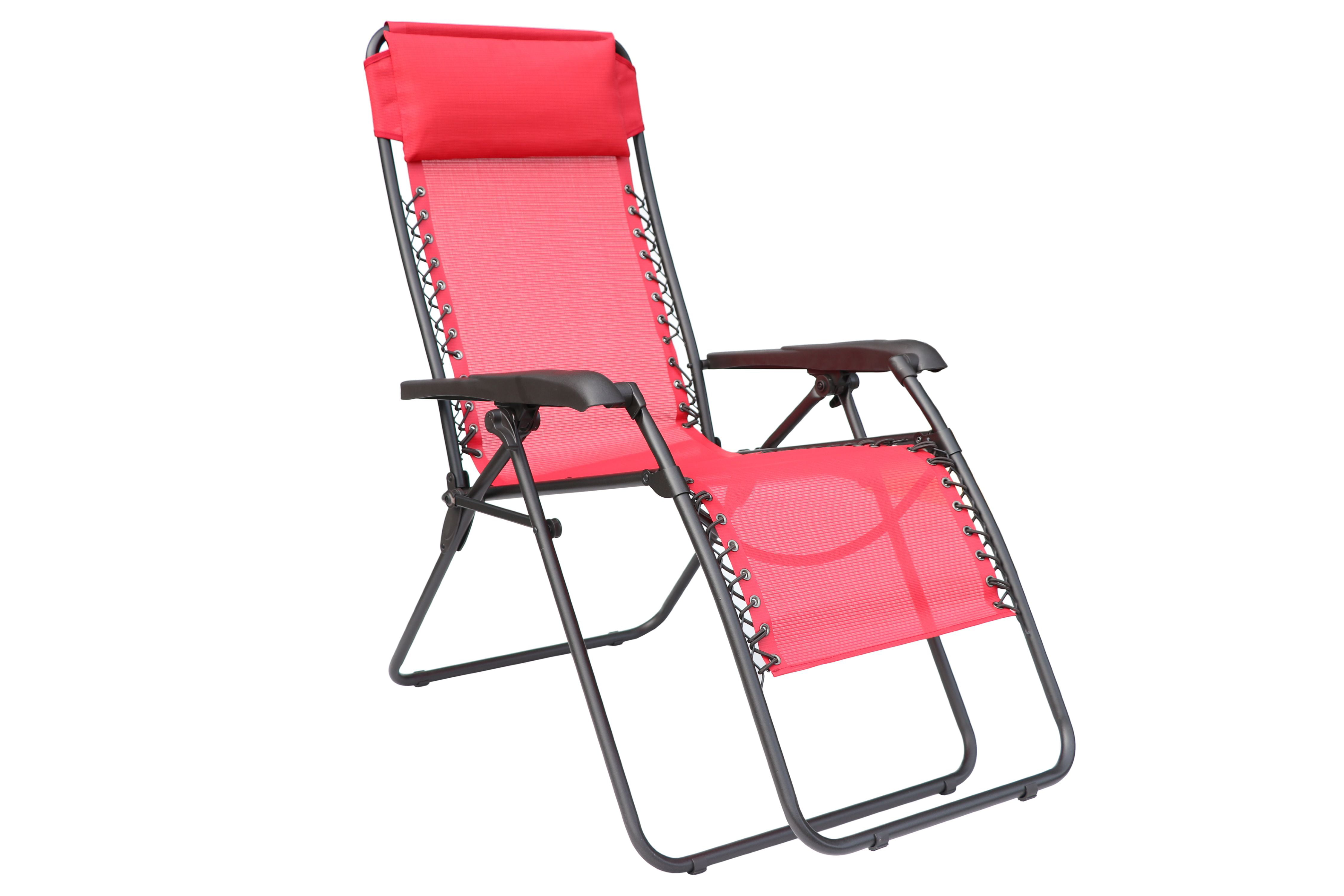 Mainstays Outdoor Folding Bungee Lounger, Red Sling