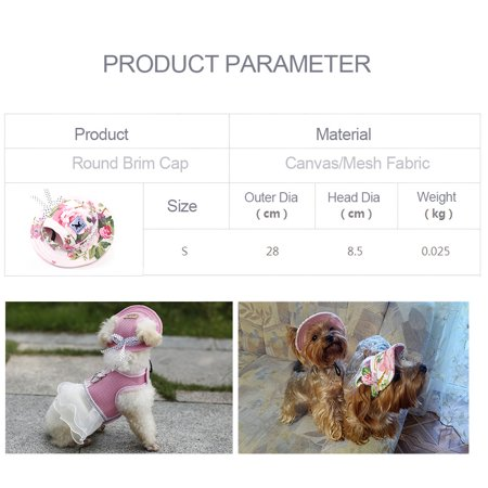 Round Brim Dog Cap Pet Hat Mesh Prorous Sun Cap with Ear Holes for Small Dogs Puppy - image 1 of 5
