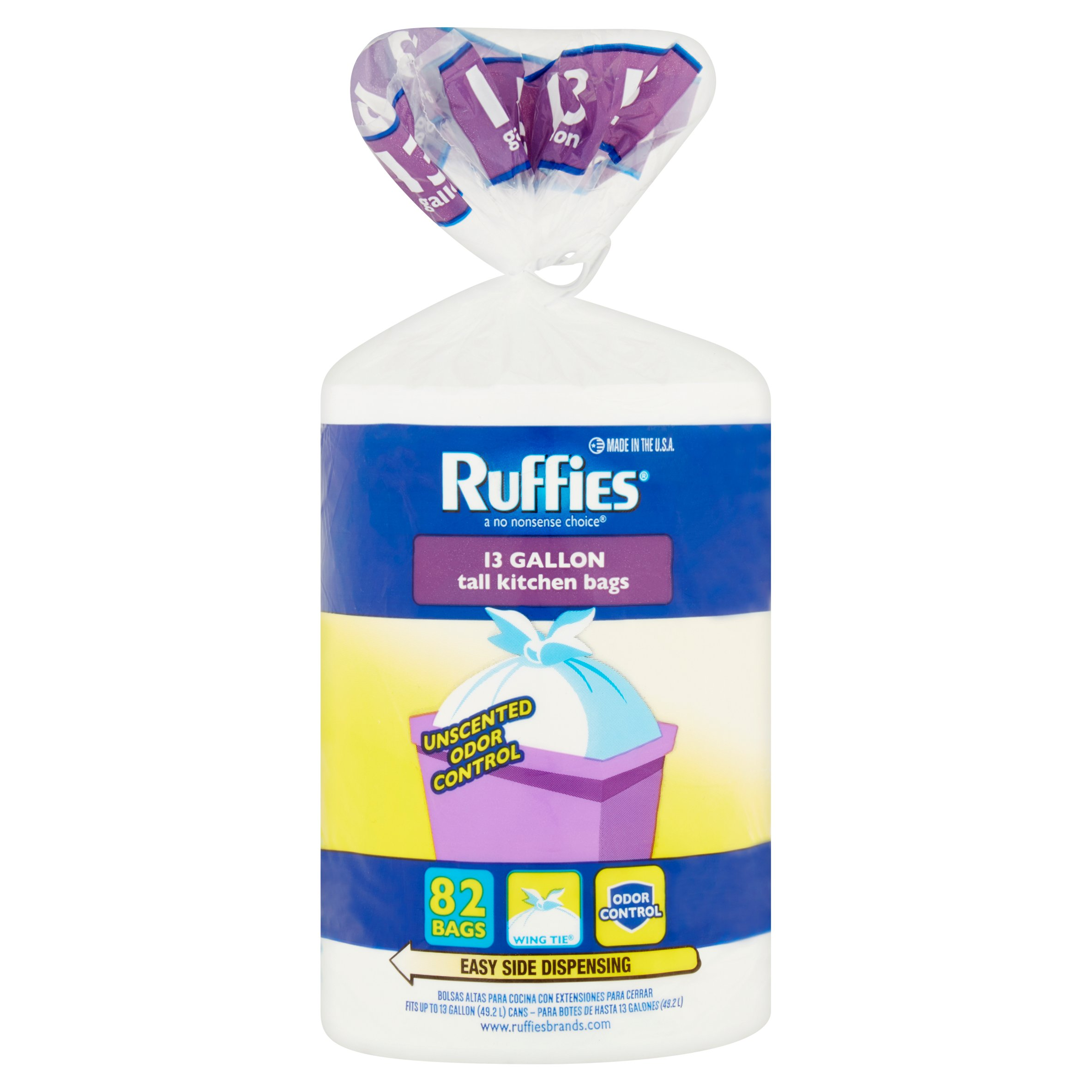 Ruffies Tall Kitchen Trash Bags, 13 Gallon, 82 Ct