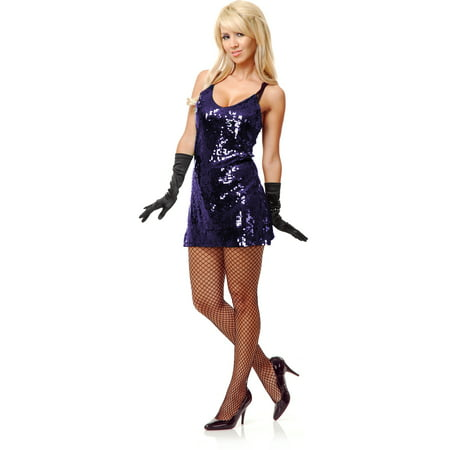 Womens Purple Sequin Flapper or 70s Disco Queen Costume Dress - 70s Theme Dress